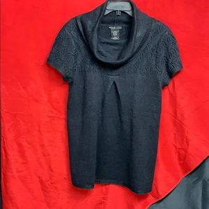 Navy blue cowl neck sweater! Dress it up or down!